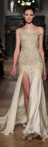 champagne sparkling silk and lace evening dress by Tony Ward Spring-Summer 2014