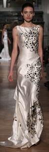 champagne taffeta black and gold painted lovely evening gown by Tony Ward Spring-Summer 2014