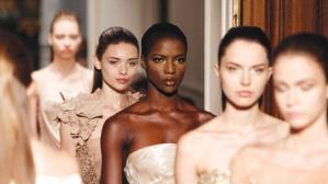 Models wear designs for Tony Ward's Spring-Summer 2014 Haute Couture collection in Paris