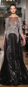 siny black and sparkling silver evening dress by Tony Ward Spring-Summer 2014